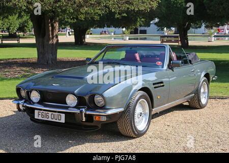 Aston Martin V8 Vantage Volante (1989, ex Prince Charles, PoW), Concours of Elegance 2018, 2 September 2018. Hampton Court Palace, London, UK, Europe - Stock Photo
