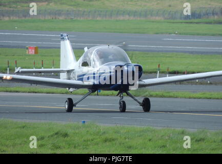 G-ASAL, the only Model 124 Scottish Aviation Bulldog, at its home base at Prestwick Airport in Ayrshire. The aircraft was the company demonstrator. - Stock Photo