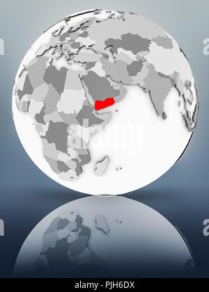 Yemen on simple gray globe on shiny surface. 3D illustration. - Stock Photo