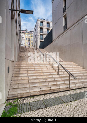 Lisbon, Portugal - Steps, typical of those seen throughout Lisbon, a city built on seven hills. - Stock Photo