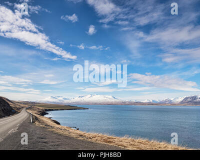 The Iceland Ring Road in North Iceland, near Akureyri, beside Eyjafjordur Fjord. - Stock Photo