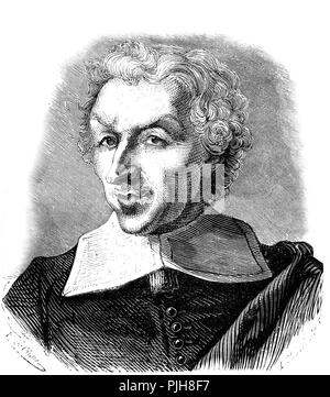 Guy Patin, 1601-1672, french physician and writer, 1865, France - Stock Photo