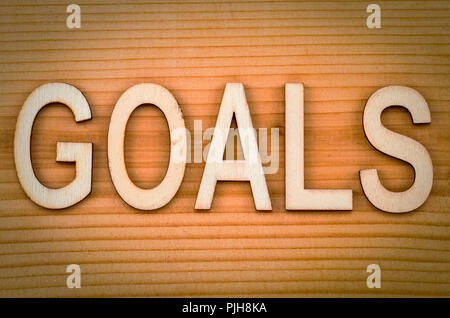 goals banner - text in vintage letters on wooden blocks. - Stock Photo