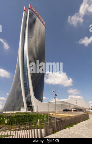 Zaha Hadid Architects, new Generali Tower, 2017 - twisted skyscraper, organic shaped high rise building, Citylife district, Milan, Italy, exterior - Stock Photo