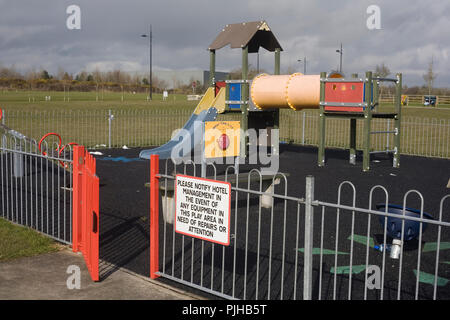 Playground maintained by City North hotel at City North business park in Gormanston county Meath - Stock Photo