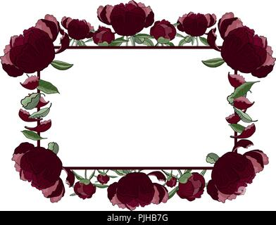 Floral rectangular frame of dark red peony flowers, buds and leaves with copy space. Romantic design, wedding announcements, greeting cards, posters,  - Stock Photo