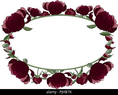Floral oval frame of dark red peony flowers, buds and leaves with copy space. Romantic design, wedding announcements, greeting cards, posters, adverti - Stock Photo