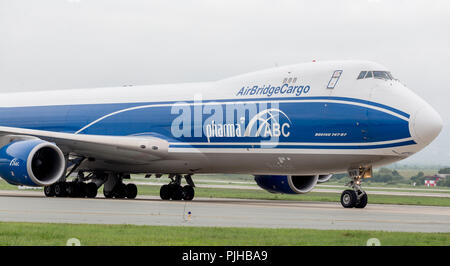 Russia, Vladivostok, 08/10/2018. Cargo aircraft Boeing 747-BF of AirBridgeCargo Airlines company on a runway. Aviation and transportation. - Stock Photo