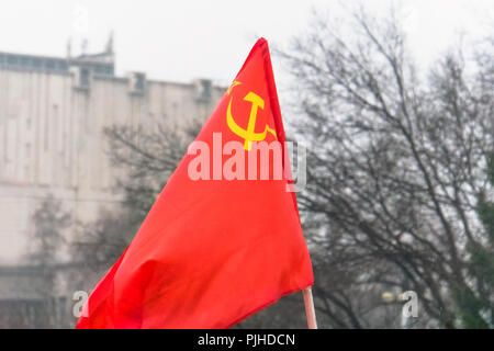 Flag of the USSR in the park. The celebration of the great October revolution on 7 November. May 9. The day of victory. The banner of victory. - Stock Photo