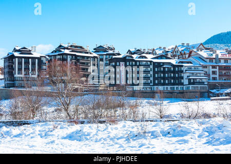 Bansko, Bulgaria - November 30, 2016: Hotels and street view in winter in bulgarian ski resort Bansko - Stock Photo
