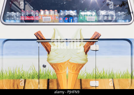 A detailed rear of an ice cream cone and soft drinks van parked in Blackfriars, London SE1, on 6th September, in London, England. - Stock Photo