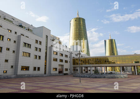 Business district with modern houses of ministries in the center of Astana, Kazakhstan - Stock Photo