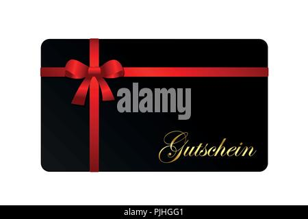 black gift card voucher with red ribbon isolated from background vector illustration EPS10 - Stock Photo