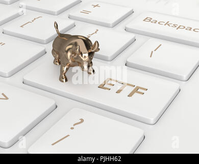 3d render of computer keyboard with ETF button. Stock market issue concept - Stock Photo