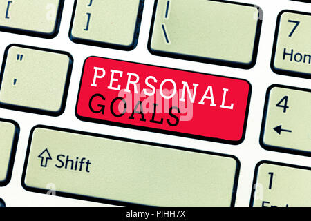 Conceptual hand writing showing Personal Goals. Business photo text Target set by a person to influence his efforts Motivation. - Stock Photo