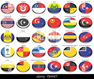Set of icons. Flags of the Malaysian states and cities. Vector. - Stock Photo