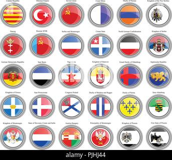 Set of icons. Flags of former countries in Europe. Vector. - Stock Photo