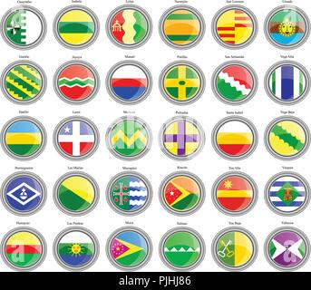 Set of icons. Municipalities of the Puerto Rico. Vector. - Stock Photo
