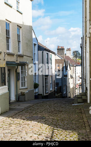 Hocker Hill Cobbled Street in Chepstow Monmouthshire - Stock Photo