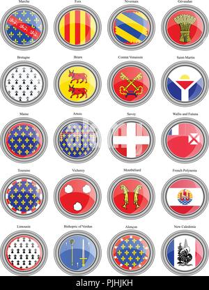 Set of icons. Regions of France flags. - Stock Photo