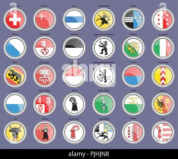 Set of icons. Cantons of Switzerland Flags. - Stock Photo