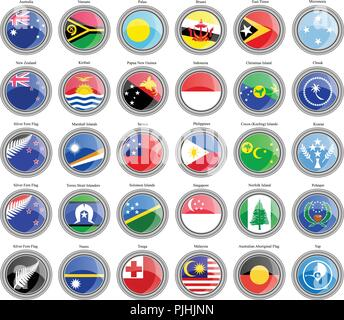 Set of icons. Flags of Australia and Oceania. - Stock Photo