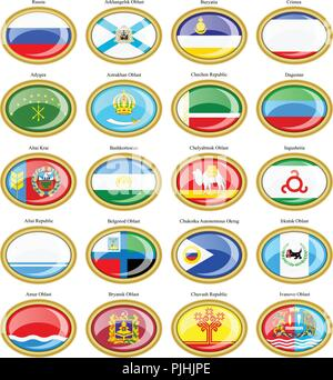 Set of icons. Federal subjects of the Russian Federation flags. - Stock Photo