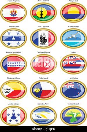 Set of icons. Flags of Australia, Oceania, Polynesia, Micronesia and Melanesia. - Stock Photo