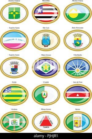 Set of icons. Flags of the Brazilian states and cities. - Stock Photo