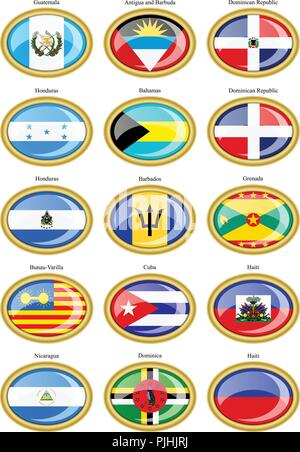 Set of icons. North and Central America's flags. - Stock Photo