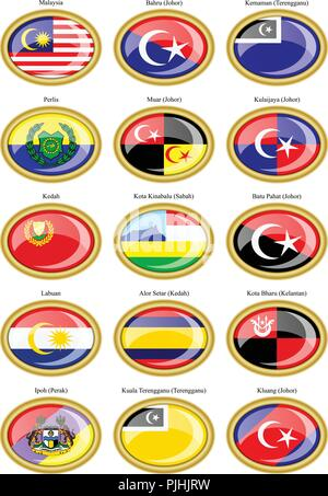 Set of icons. Flags of the Malaysian states and cities. - Stock Photo