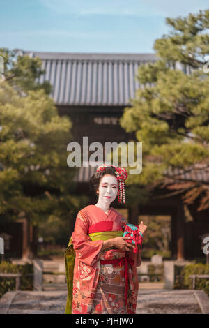Maiko in a kimono posing in Kyoto on a stone bridge in front of the gate of a traditional Japanese kennin temple surrounded by pine trees. - Stock Photo