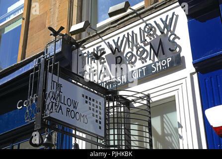 The original Willow Tea Room, designed by Charles Rennie Mackintosh, on Sauchiehall Street, Glasgow, UK - Stock Photo
