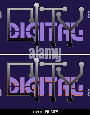 typography digital city with ultraviolet, creative logo - Stock Photo