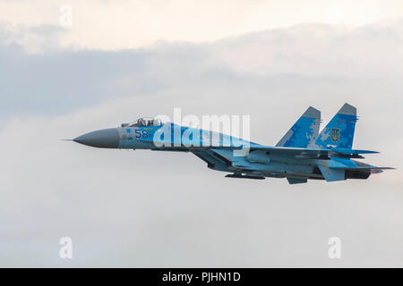 Ukrainian Su-27 Flanker, RIAT 2018, RAF Fairford, UK - Stock Photo