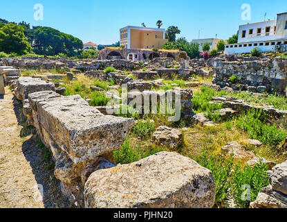 Remains of the Insulae at Ancient Agora of Kos. South Aegean region, Greece.