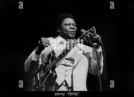 Blues guitarist B.B. King in concert in Wisconsin in 1979. - Stock Photo