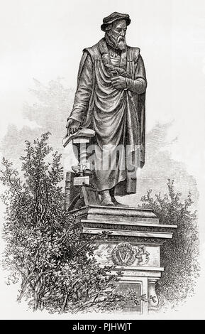 Statue of William Tyndale, Victoria Embankment Gardens, London, England in the 19th century.  William Tyndale, sometimes spelled Tynsdale, Tindall, Tindill, Tyndall; c. 1494 – 1536. English scholar and translator of the bible.  From London Pictures, published 1890. - Stock Photo