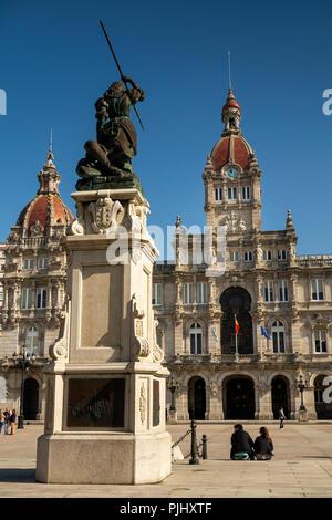 Spain, Galicia, A Coruna, Praza de María Pita, Maria Pita ststue in square and Concello da Coruña, Town Hall - Stock Photo