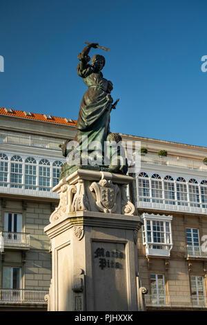 Esp214Spain, Galicia, A Coruna, Praza de María Pita, Maria Pita statue, hero of Francis Drake's attack - Stock Photo