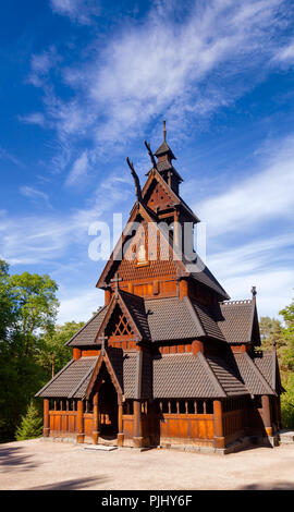 Reconstructed wooden Gol Stave Church (Gol Stavkyrkje) in Norwegian Museum of Cultural History at Bygdoy peninsula in Oslo, Norway, Scandanavia - Stock Photo
