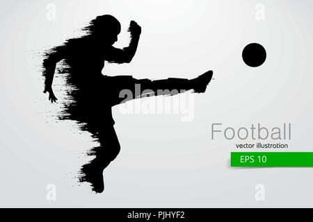 silhouette of a football player. Text and background on a separate layer, color can be changed in one click. Vector illustration - Stock Photo