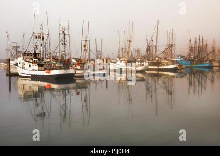 Morning fog begins to lift revealing Oregon's Yaquina Bay Fishing Fleet at Newport. - Stock Photo