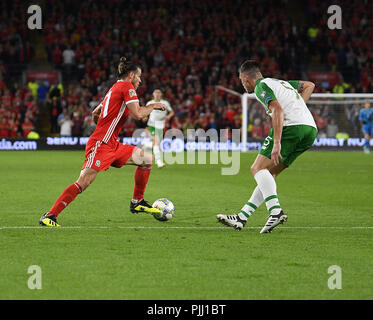 Gareth Bale in action during Wales v Ireland at Cardiff City Stadium Cardiff Wales on September 06 2018 Graham / GlennSports - Stock Photo