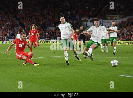 Aaron Ramsey shoots for goal during the Wales v Ireland game at Cardiff City Stadium Cardiff Wales on September 06 2018 Graham / GlennSports - Stock Photo