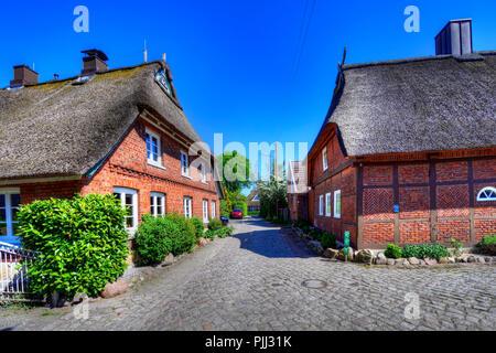 Half-timbered houses and lanes in the Stegelviertel in new narrow nurse, Hamburg, Germany, Europe, Fachwerkhäuser und Gassen im Stegelviertel in Neuen - Stock Photo