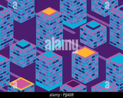 Skyscrapers seamless pattern. Isometric city buildings, metropolis. Neon color in the style of the 80s. Vector illustration - Stock Photo