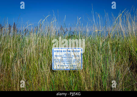 Entrance of the dune forbade, dune protection in lagoon jug, Schleswig - Holstein, Germany, Europe, Betreten der Düne verboten, Dünenschutz in Haffkru - Stock Photo