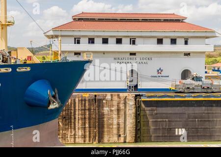 Panama City Panama. March 2018. A view of Miraflores Locks at the panama canal in Panama. - Stock Photo
