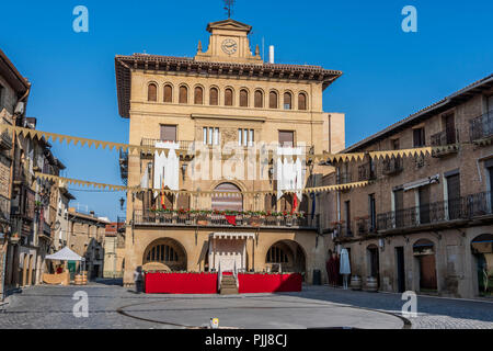 Main square and building of the municipality in the medieval city of Olite. Navarre Spain. - Stock Photo